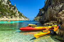 Colorful Kayaks In The Rocky Bay,Cassis,near Marseille,France,Europe