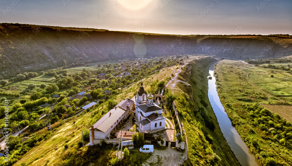 Fototapety, obrazy: Christian Orthodox church in Old Orhei, Moldova. Aerial view fro