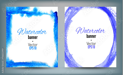 Garden Poster White Set of banners with watercolor hand drawn texture.