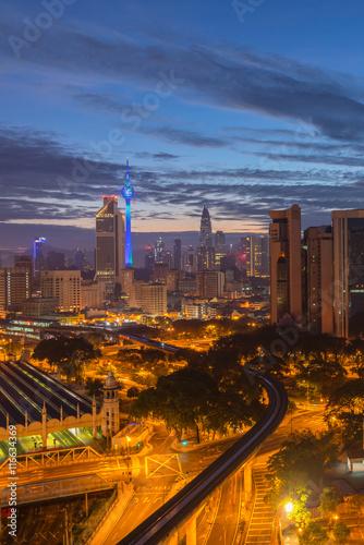 Aerial view of beautiful sunrise at Kuala Lumpur city centre Wallpaper Mural