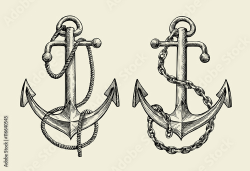 Hand drawn nautical anchor. Vector illustration Fototapete