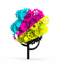 CMYK tree made of gears
