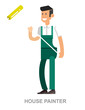 House painter flat decorative icons set with man working and home repairing tools isolated vector illustration