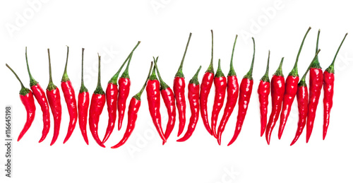 set with red hot chili peppers on white background