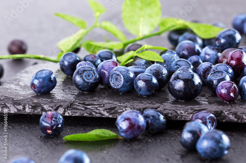 Photo blueberries on a slate table