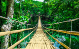 Fototapeta Bambus - Bamboo hanging bridge over river in tropical forest