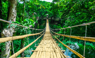 Obraz na SzkleBamboo hanging bridge over river in tropical forest