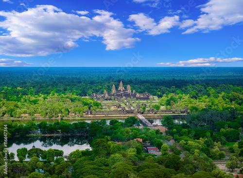 Foto  Luftaufnahme von Angkor Wat Tempel, Siem Reap, Kambodscha