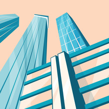 Skyscrapers In The City. Bottom View. Cartoon Vector Illustration