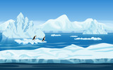 Cartoon nature winter arctic ice landscape with iceberg, snow mountains hills and penguins. Vector game style illustration. Seamless background for games.