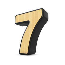 3d Wood And Black Plastic Material Number 7 Seven Isolated White