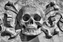 Skull And Bones Made Of Stone