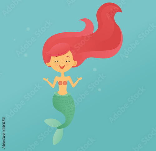Smiling pink-haired mermaid Poster