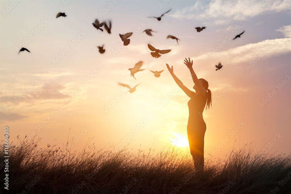 Fototapeta Woman praying and free birds enjoying nature on sunset background