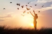 Woman Praying And Free Birds Enjoying Nature On Sunset Background