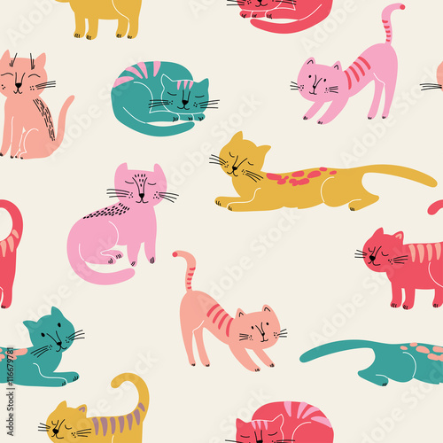 Cotton fabric Cute seamless pattern with colorful cats