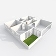 3d interior rendering perspective view of empty paper model home apartment with balcony