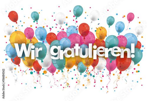 wir gratulieren luftballons kaufen sie diese vektorgrafik und finden sie hnliche. Black Bedroom Furniture Sets. Home Design Ideas