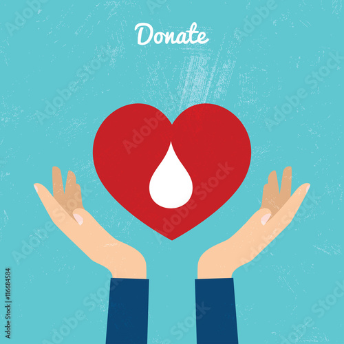 Fotografie, Obraz  Donate blood bag on blue background. Vector illustration