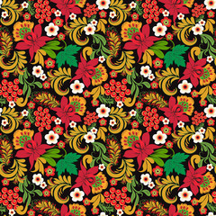 Floral seamless pattern ornaments on black background