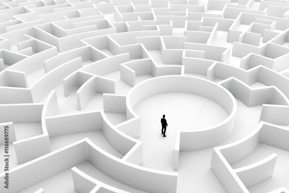 Fototapeta Businessman in the middle of the maze. Challenge concepts