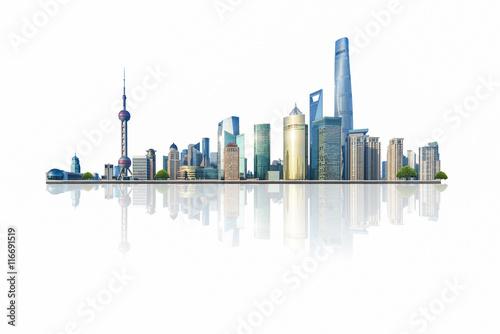shanghai cityscape and skyline with white background,china. Wallpaper Mural