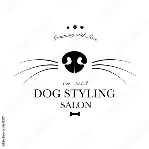 Logo for dog hair salon, dog styling and grooming shop, store for pets Canvas Print