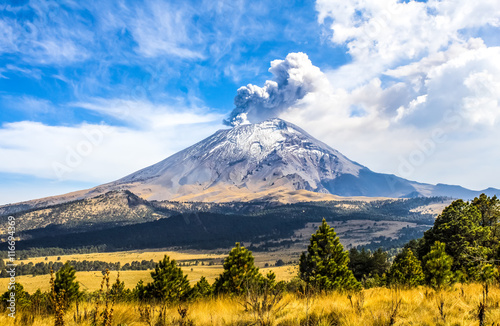 Poster Mexico Active Popocatepetl volcano in Mexico