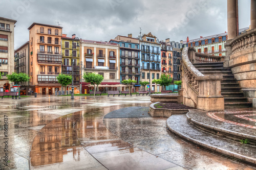 Houses on Plaza del Castillo in Pamplona (HDR effect) Canvas Print