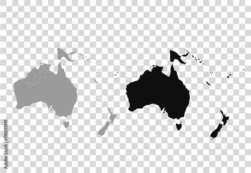 Fotografiet Map of Oceania in gray on a white background
