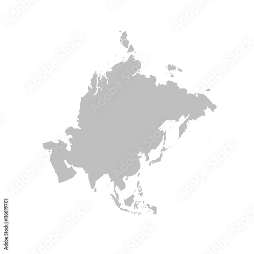 Asia map in gray on a white background Wall mural