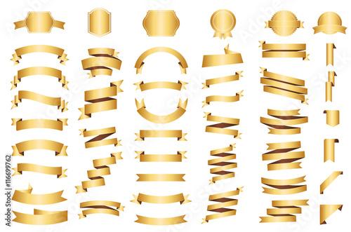 Fotografia Banner vector icon set gold color on white background