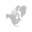 Map of North America in gray on a white background