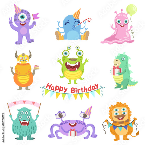 Friendly Monsters With Birthday Party Attributes