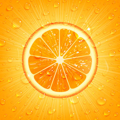 Panel Szklany Owoce Orange Background with Water Drops