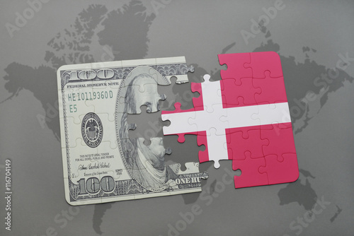 puzzle with the national flag of denmark and dollar banknote on a world map background Poster