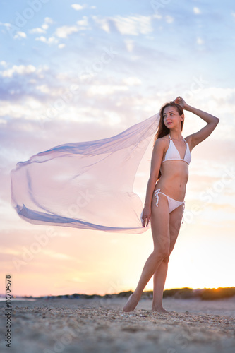Printed kitchen splashbacks Artist KB Beautiful girl in a swimsuit on the beach