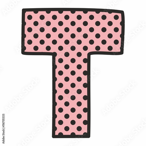 T vector alphabet letter with black polka dots on pink background ...