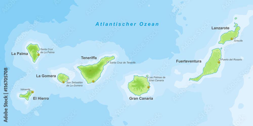 Kanaren Inseln Karte.Kanarische Inseln Landkarte Foto Poster Wandbilder Bei Europosters