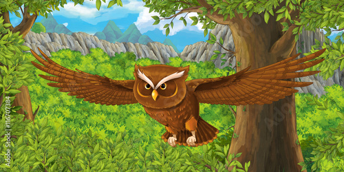 Cartoon bird - owl flying - illustration for children