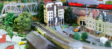 City In Miniature. Houses, Cars, Trees.