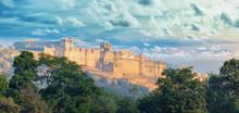 India Landmarks - Panorama With Amber Fort. Jaipur City