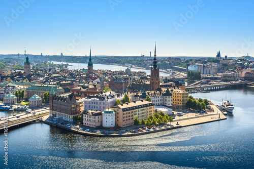 Aluminium Prints Stockholm view of the Old Town or Gamla Stan in Stockholm, Sweden