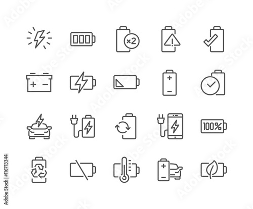 Photo Line Battery Icons