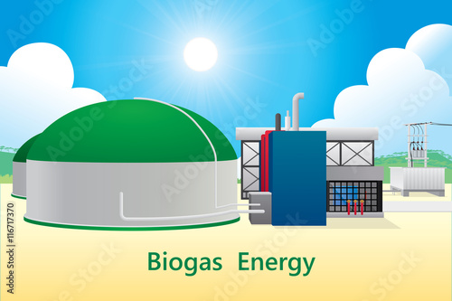 Vector illustration of biogas energy/biogas power plant. Canvas Print