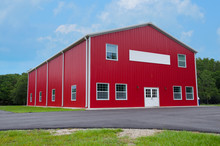 Very Clean New Red Two Story Levels Barn Or Country Store With Blank Sign On Front