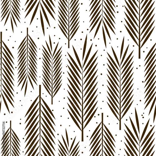 Seamless pattern with palm leaves ornament - 116722756