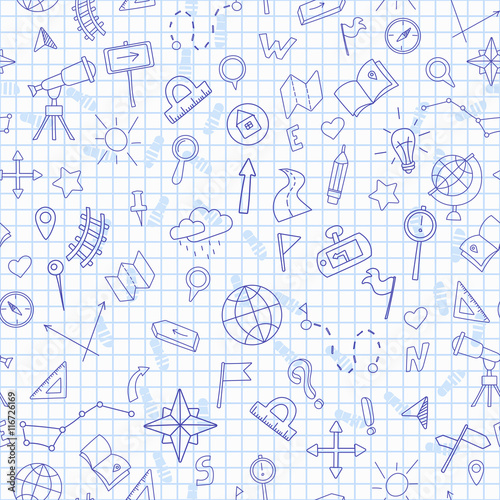 Fotografia  Seamless pattern with hand drawn signs on the theme of geography and travel, dar