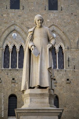 Poster Monument Sallustio Bandini statue in Siena, Italy