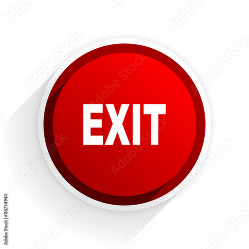 exit flat icon with shadow on white background, red modern design web element Wall mural